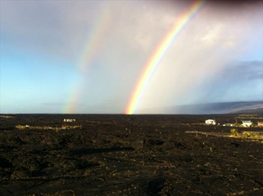 We wake up to Beautiful Double Rainbows almost every day!  : )  Wide open sky with tons of stars at night as well..
