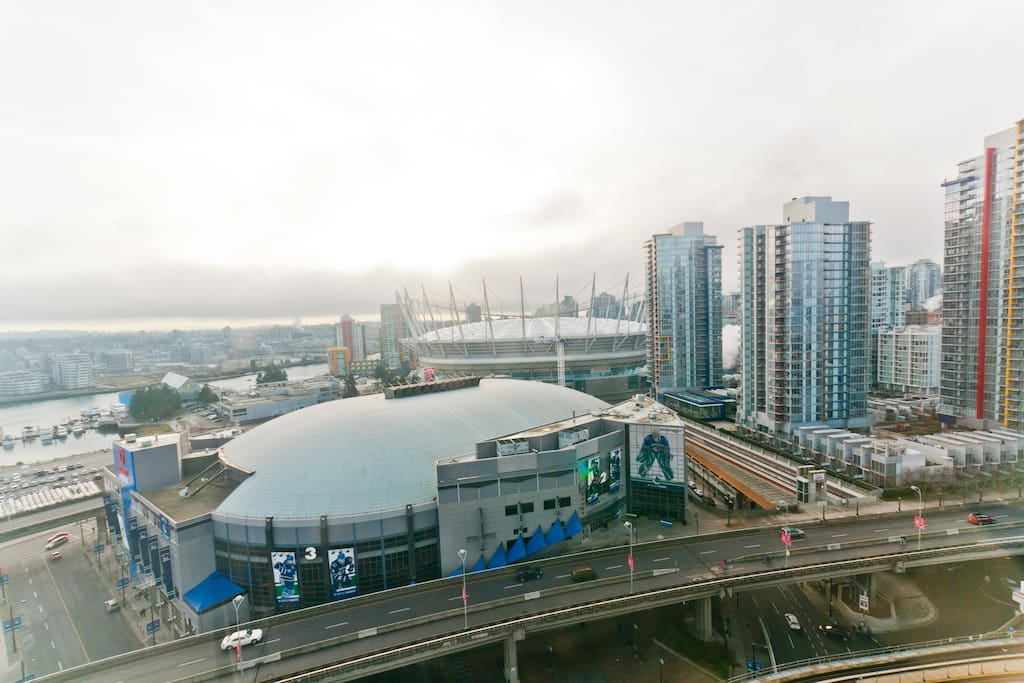 Water view which overlooks two world class arenas (Rogers Arena, home to the Vancouver Canucks and BC Place, home to the BC Lions and Whitecaps)