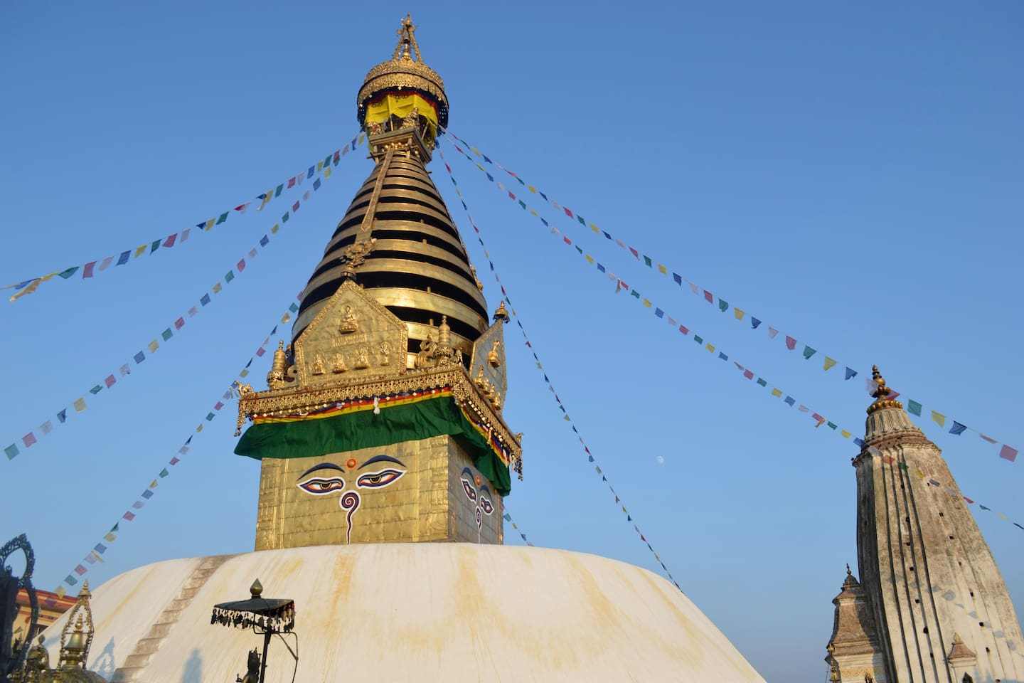 the view of swayambhu which is about 30mins away from the house