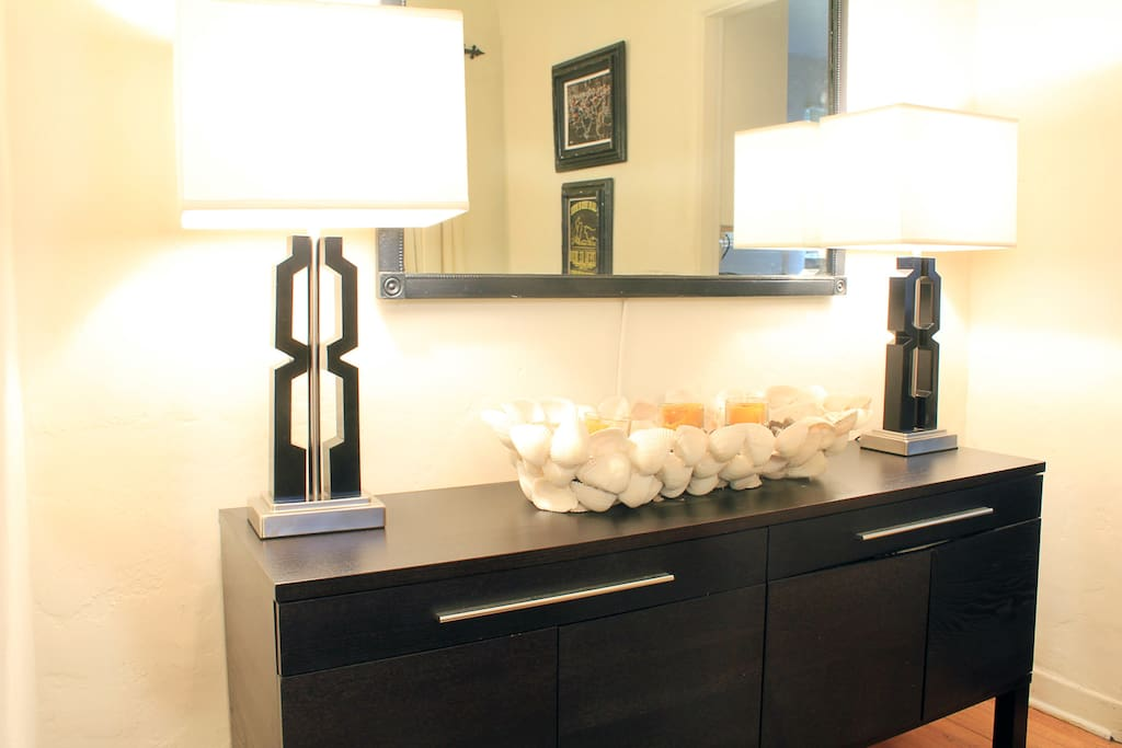 Dining room sideboard with table linens