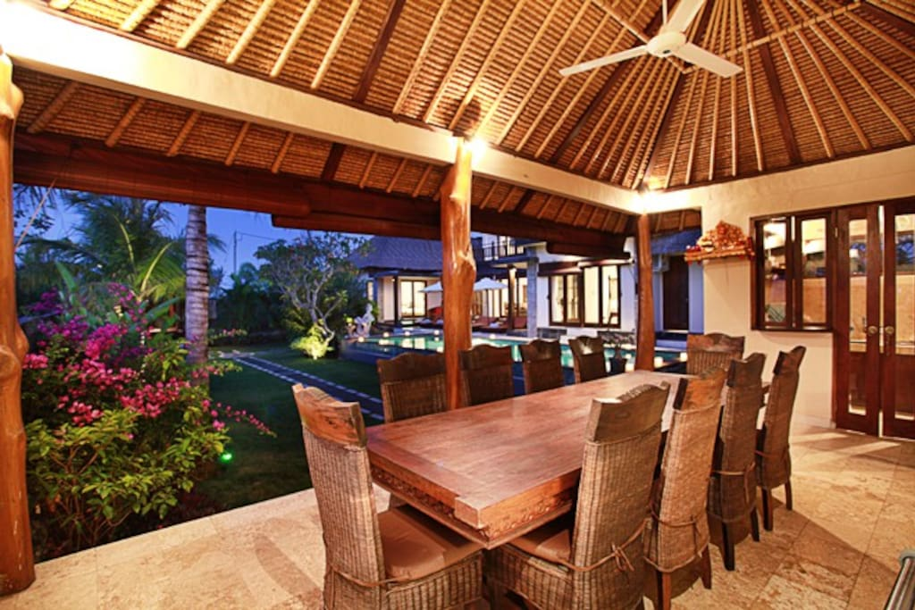 The outdoor dining area is perfect for family dinners, group gatherings and entertaining...