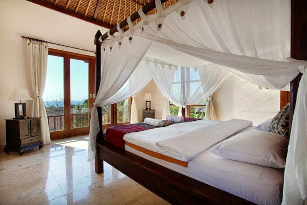 The second floor master bedroom features amazing ocean views from your own private balcony.