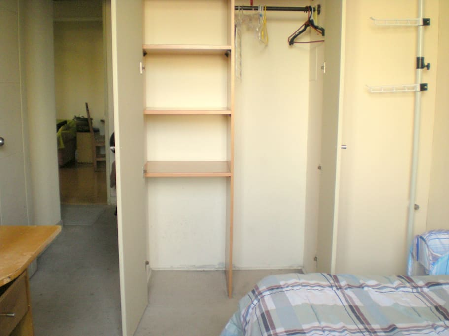 The rooms closet, inside the room, quite spacious, plus a modern post  type rack