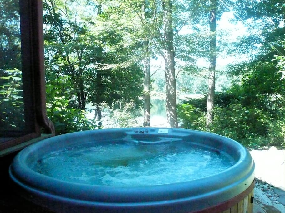 Relax in Hot tub spa. Overlooks lake.