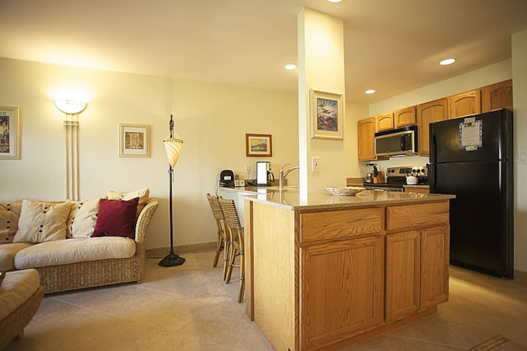 The Living Room and Kitchen