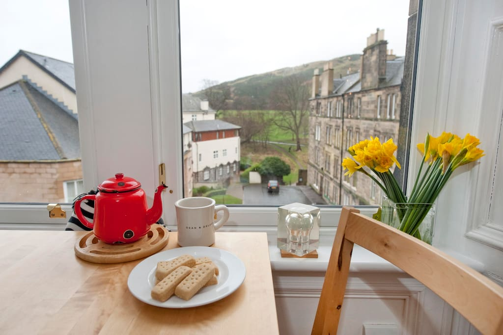 Enjoy a cup of tea and a piece of shortbread whilst taking in the view of Holyrood Park.