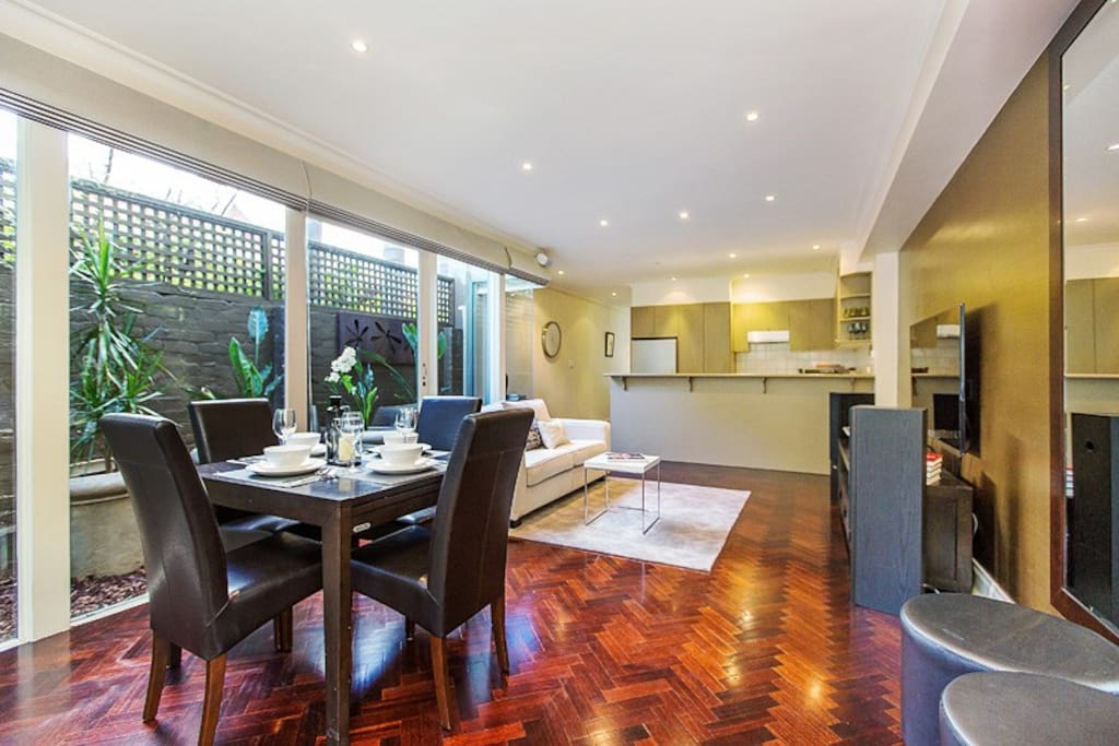 large open plan living, dining and kitchen
