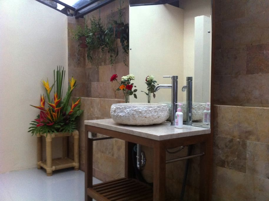 """Granite & Natural Stone Bathroom with separate """"Pool Entry"""""""