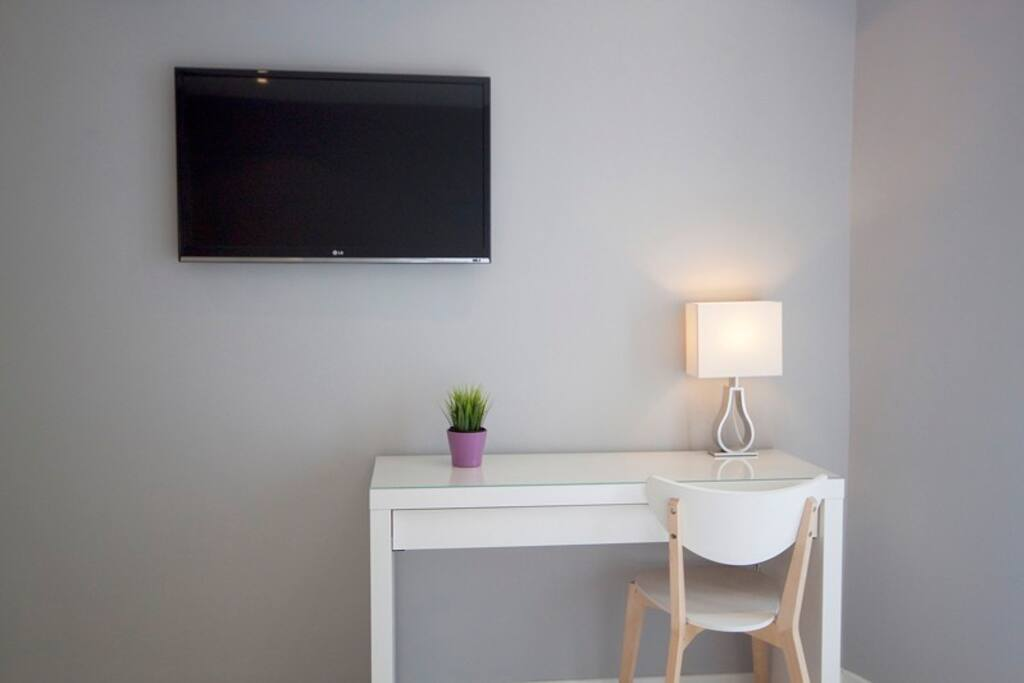 Desk and TV in the bedroom