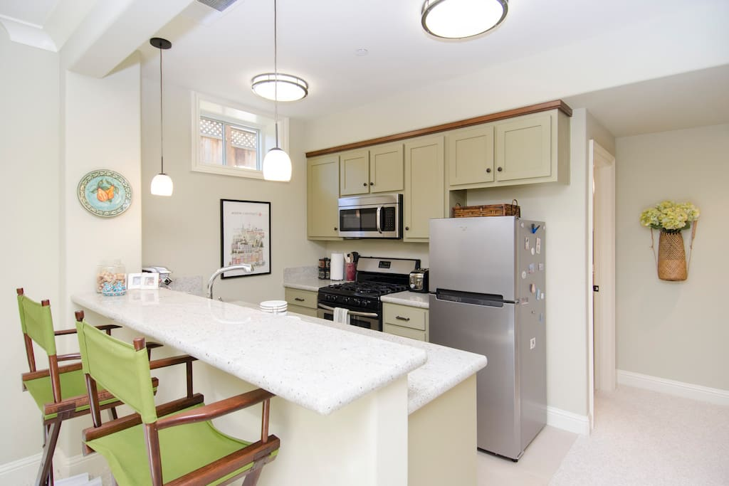 Full size kitchen with all new appliances.