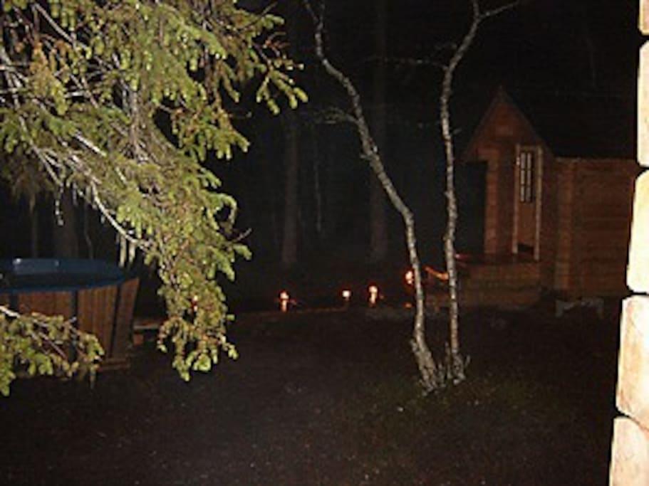 Lanterns lighting up the dark Lapland nights
