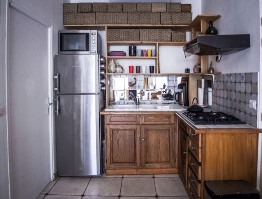 the kitchen is simple and functional