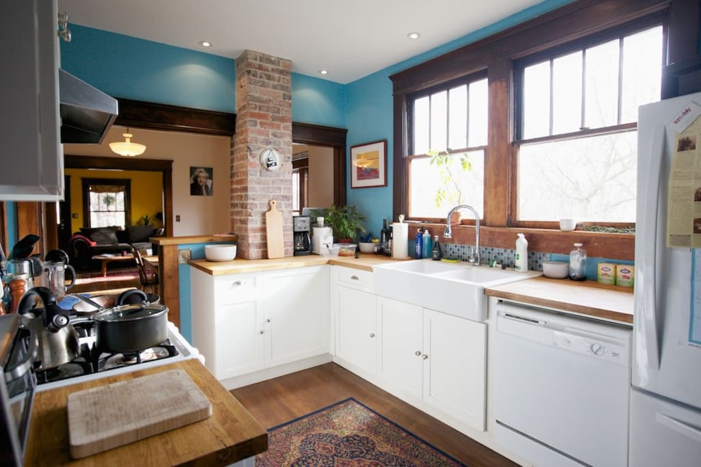 Kitchen gets great morning light for early coffee sessions