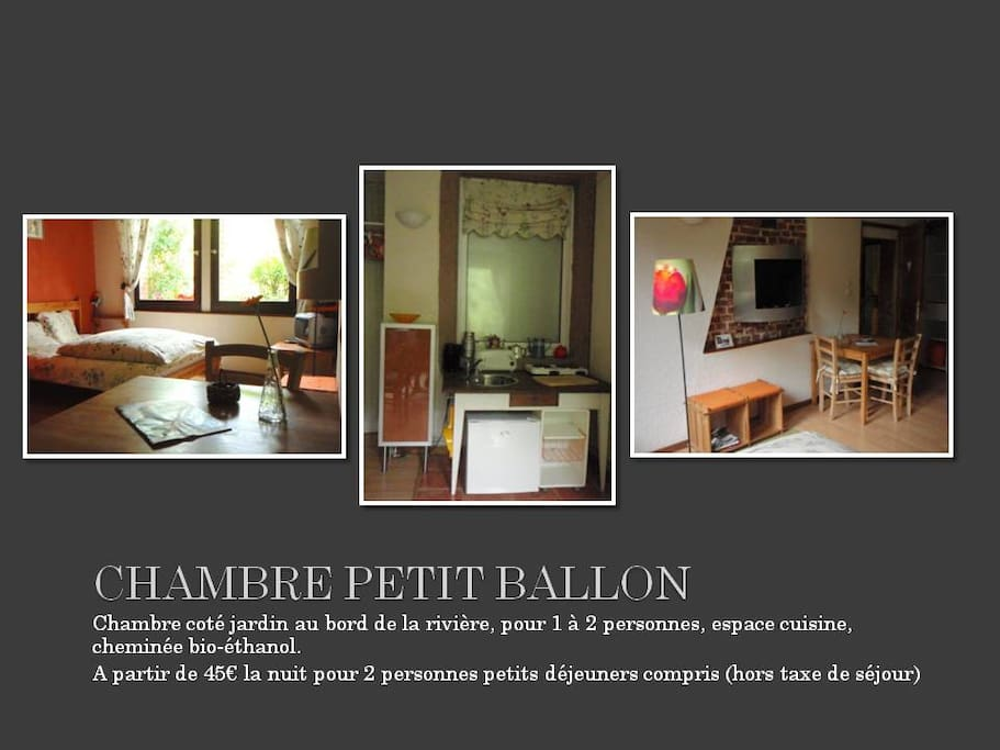 """Chambre - Room """" Petit Ballon"""" 1 double bed - 1 lit simple"""