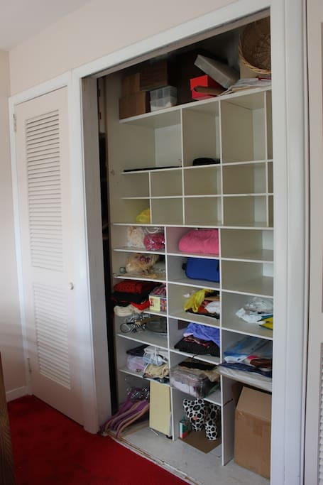 Closet in private bedroom (also a closet for hanging clothes & dresser)