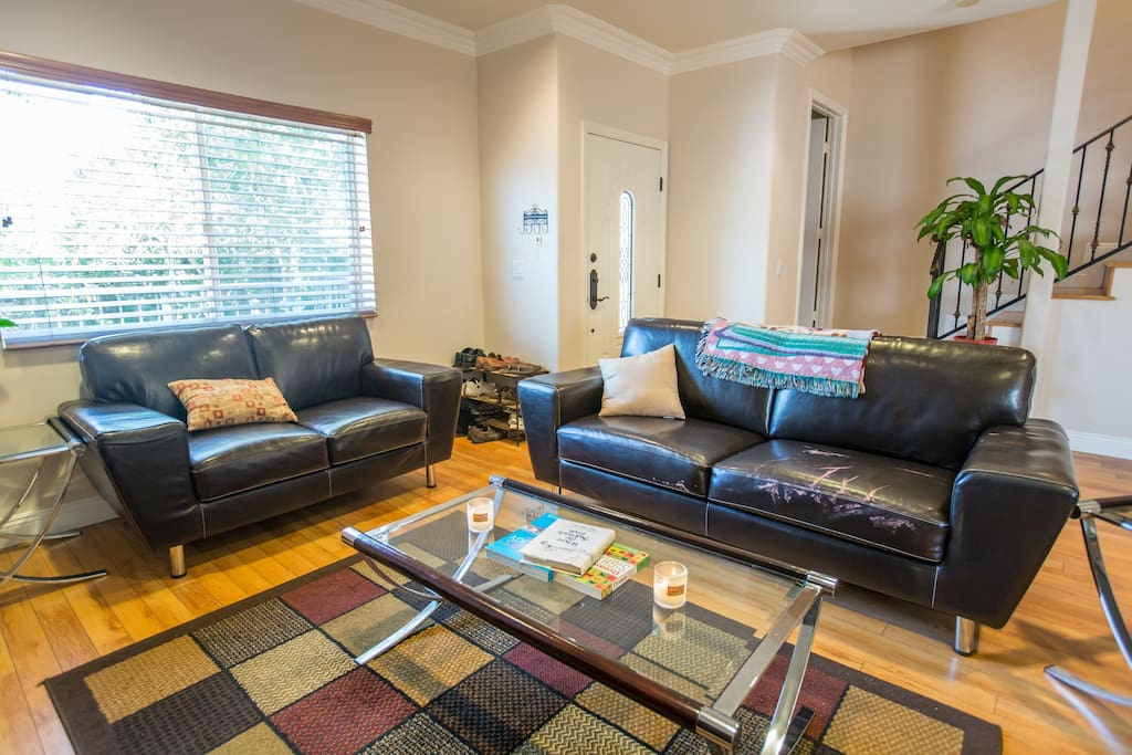 Living Room. 46in TV and DVD Library. Shared Space for your Enjoyment.