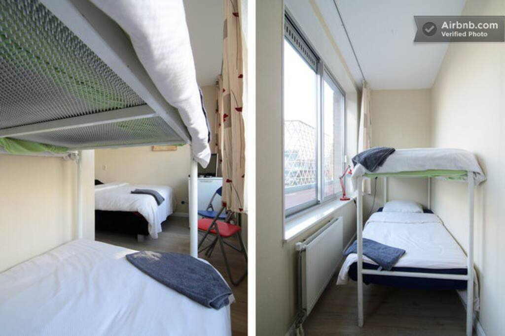 Four places to sleep in this bedroom, one double bed and two single (website hidden), fridge, oven/microwave and watercooker, all provided in this room.