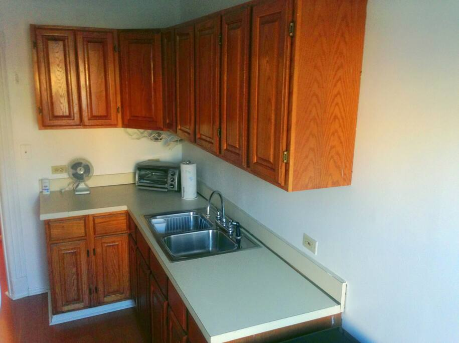 Kitchen: Newly Refinished Sink & Cabinets