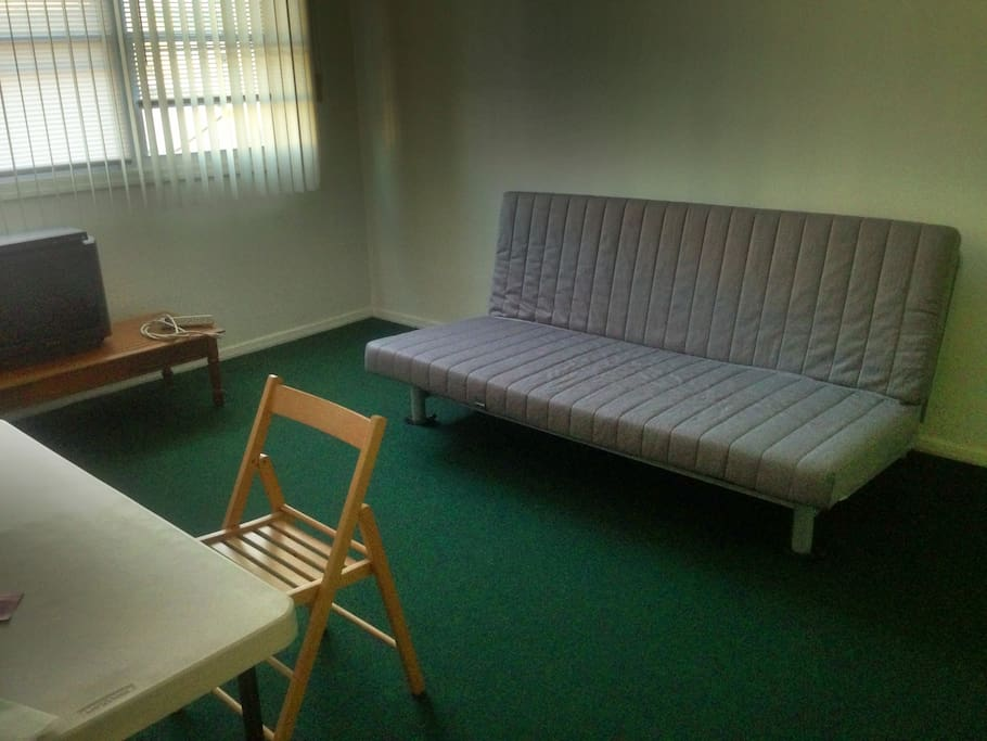 Living Room: Foldable Couch for an Extra Guest if Needed