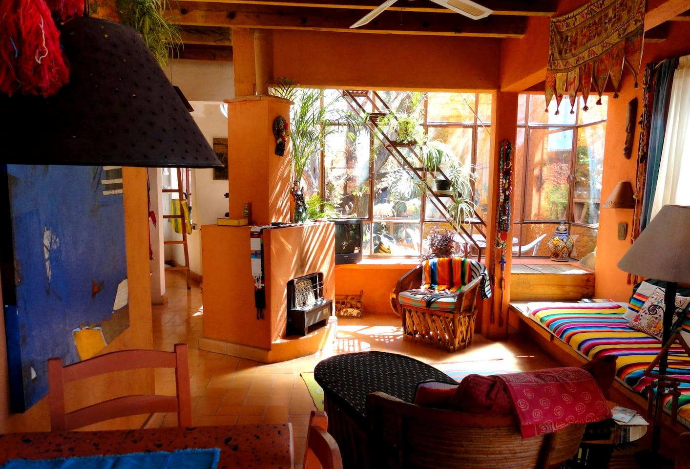 Treehouse living at Tres Casitas San Miguel, up stairs to roof garden