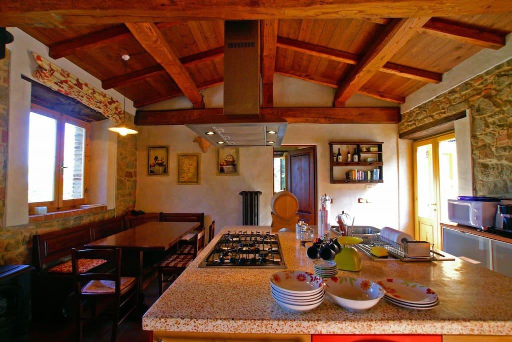 Island Kitchen in Il Fienile Apartment at Villa Ceppeto