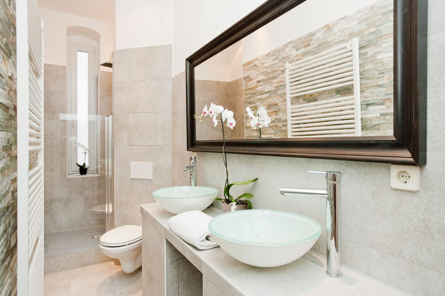 designer bathroom refurbished Dec 2012, 2 sinks, open shower, toilet & towel heater