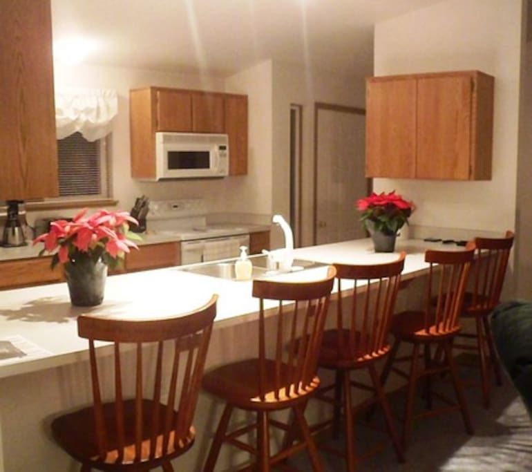Open kitchen area is perfect for celebrations.