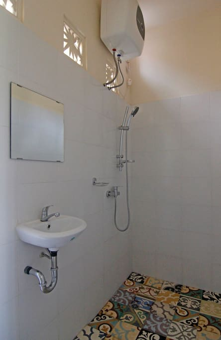 shower in dormitory - separate from toilet.  own hot water system