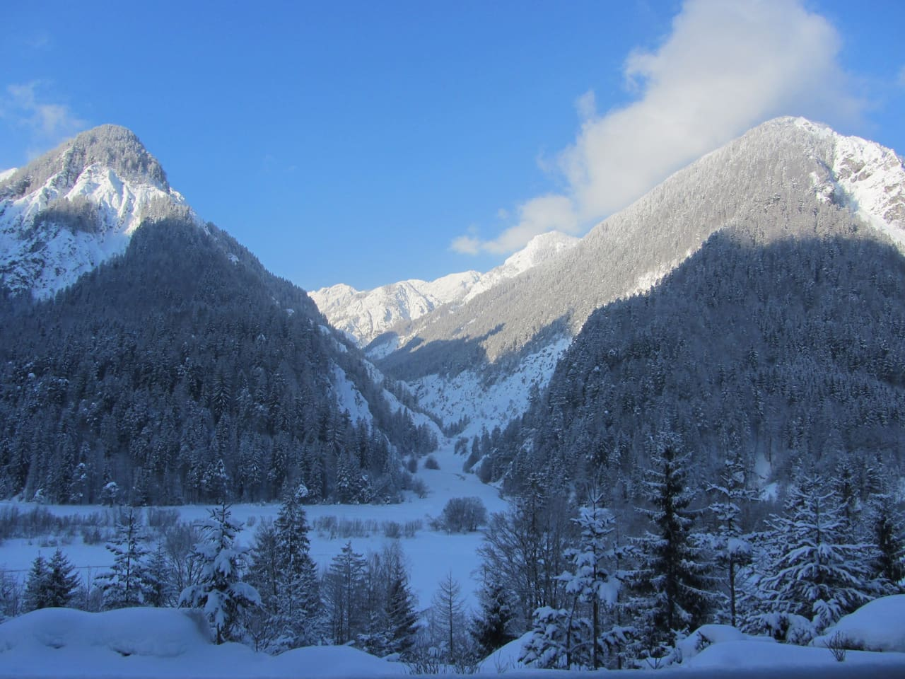 The breathtaking view from the house in the winter.