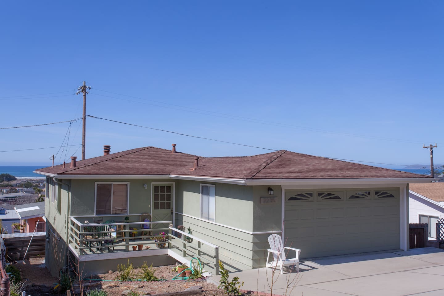 Here is the outside of the house.  It is perched on the hill for fantastic ocean views!