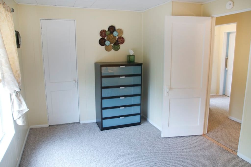 plenty of storage and walk in closet