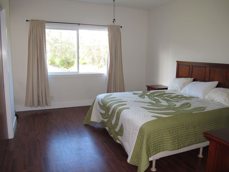 Master bedroom with king size bed in the 2 bedroom house