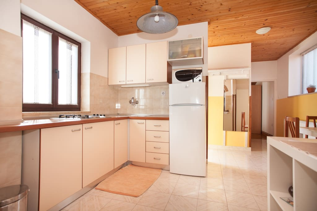 Kitchen with coocker (gas + electricity), fridge, freezer, microwave, kettle, plates and dishes