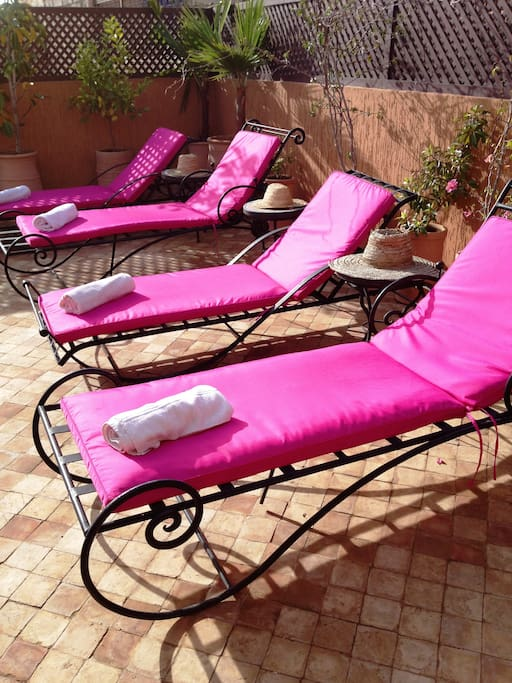 sun loungers on our roof terrace