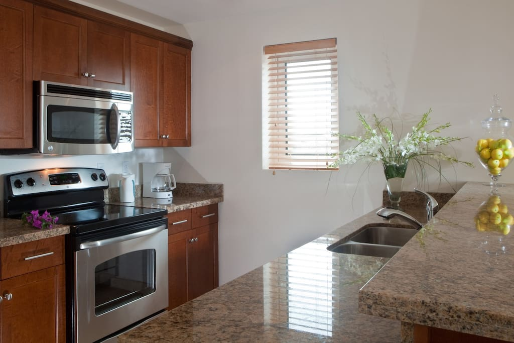 full kitchen with dishwasher and daily maid service optional