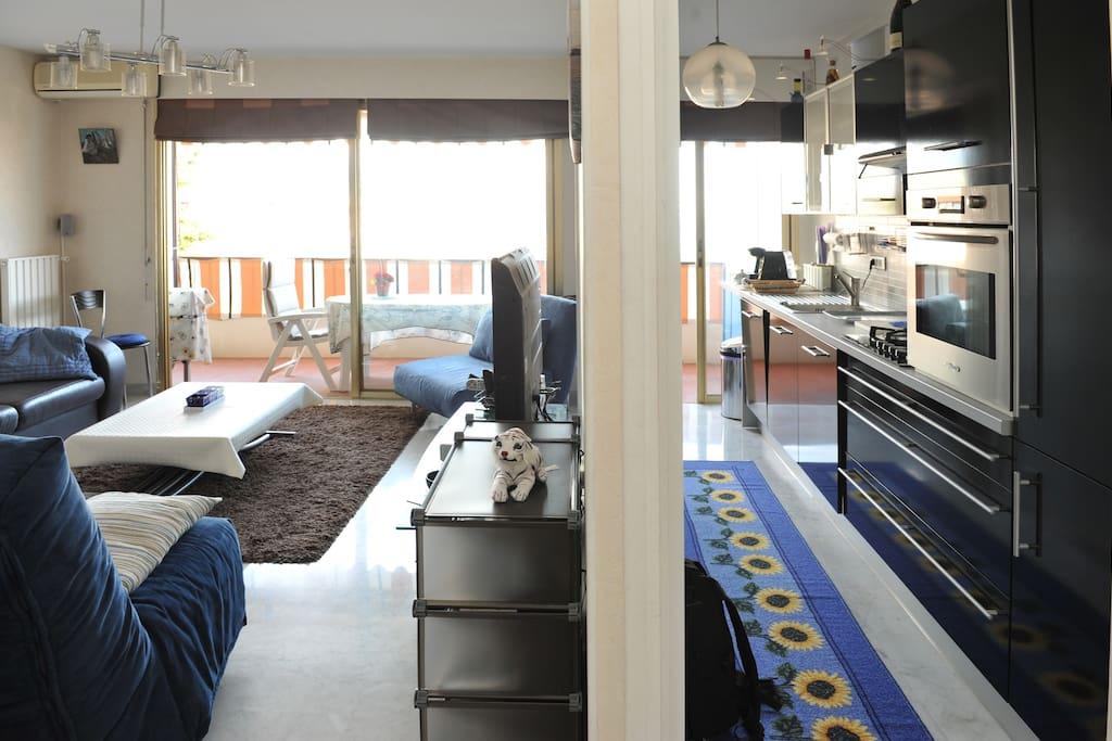 studio view from the entrance- vue du studio à partir de l'entrée