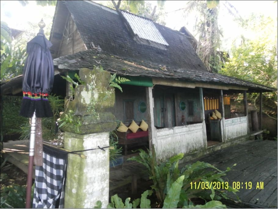 Our Java House is very  secluded. Note the Balinese temple left, with its protective umbrella
