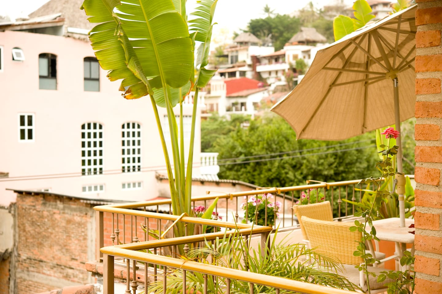 Private terrace overlooking Gringo Gulch, Rio Cuale and Old Town.