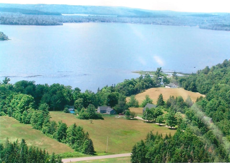 Aerial view of entire farm and Boyden Lake, easternmost lake in US and minutes from the highest tides in the world!