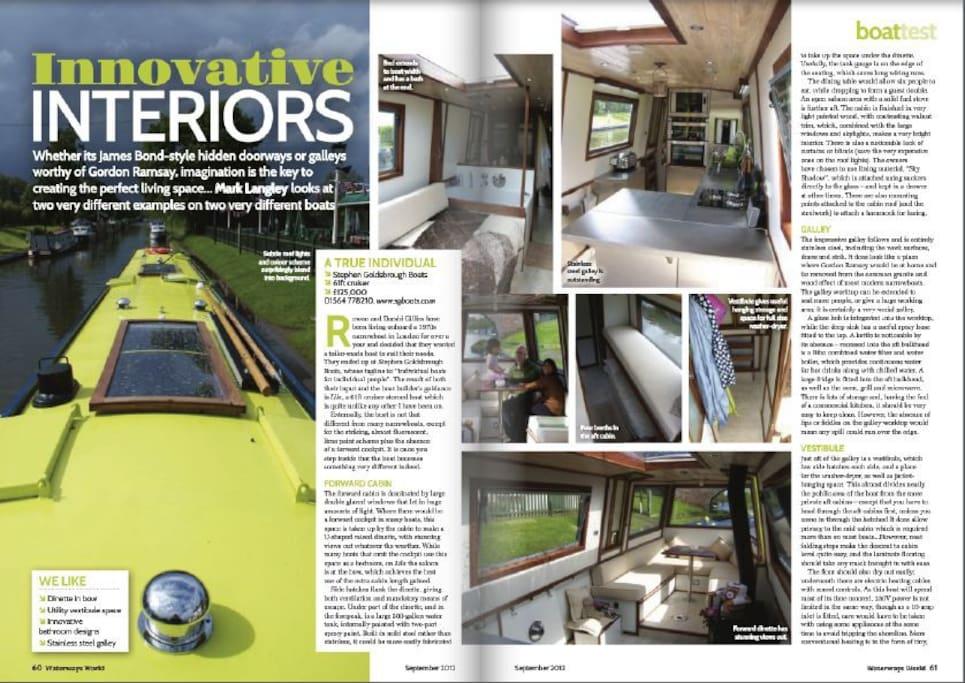 Our designer boat-home featured in Waterways Magazine :-)