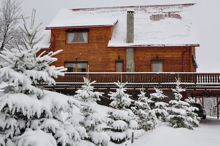 The Carpathian Log Home is situated on the outskirts of the forest, near the legendary Bran Castle. Four bedrooms with ensuite bathrooms, amazing high ceiling livingroom with fireplace and glass wall facing the mountains, gourmet kitchen, sauna/jacuzzi, amazing surrounding nature:- this is your perfect holiday home in Romania.