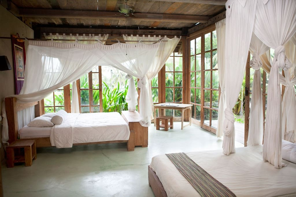 Jungle bedroom with stunning views and ensuite bathroom