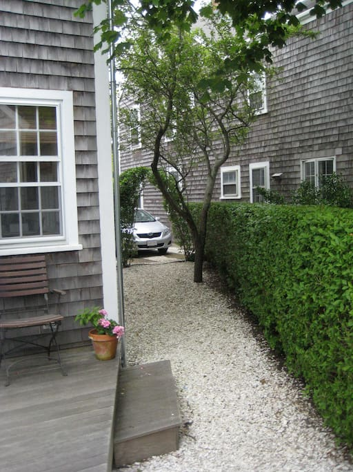 This is the side yard and where we park the bikes