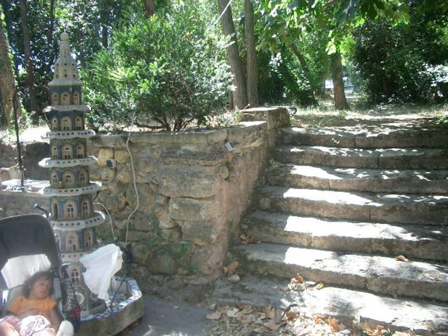 Ancient stone steps and tower