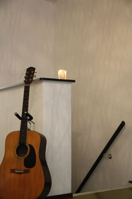 for guitar players! staircase goes down to sleeping room and bath room