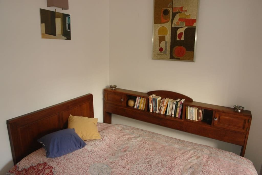 The bed area of the main room.