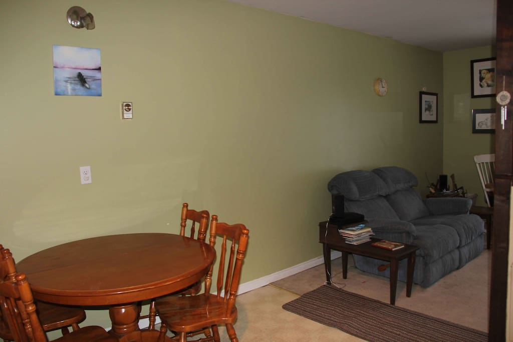 Kitchen table, view into living room