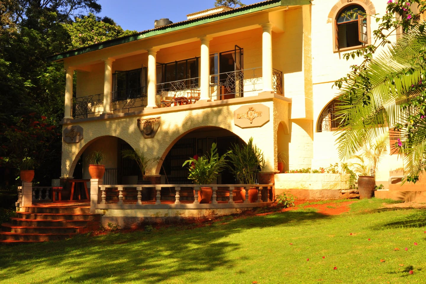 Twiga Suite upstairs $250 per night B&B with views of the Ngong Hills and stunning sunsets and Simba Suite $220 per night B&B downstairs with own private verandah