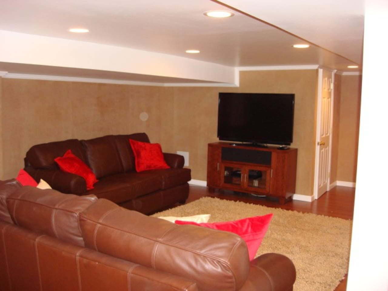 Two sofas and TV