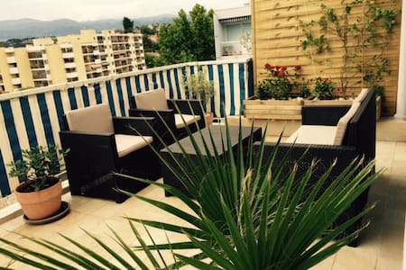 Cagnes/Mer 2/4 pers avec terrasse 24m²proche plage - Wohnung